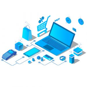 Pay per click flat illustration with laptop and pointer. eps8